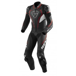 TUTA MOTO PELLE INTERA ESTIVA VERTEX PRO BLACK RED REV'IT