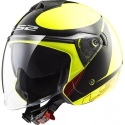 CASCO HELMET JET OF573 TWISTER PLANE YELLOW BLACK RED LS2