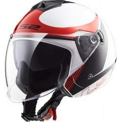 CASCO HELMET JET OF573 TWISTER PLANE WHITE BLACK RED LS2
