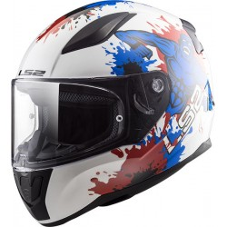 CASCO HELMET INTEGRALE KIDS FF353 RAPID MINI MONSTER WHITE BLUE LS2