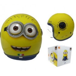 CASCO HELMET DEMI JET KID MINIONS FACE YELLOW DURALEU