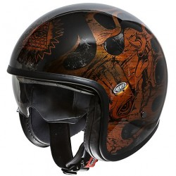 CASCO HELMET JET IN FIBRA VINTAGE EVO BD ORANGE CHROMED NERO LUCIDO PREMIER