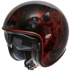 CASCO HELMET JET IN FIBRA VINTAGE EVO BD RED CHROMED NERO LUCIDO PREMIER