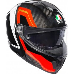 CASCO HELMET MODULARE SPORTMODULAR MULTI SHARP IN CARBONIO CARBON RED WHITE AGV