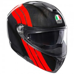 CASCO HELMET MODULARE SPORTMODULAR MULTI STRIPES IN CARBONIO CARBON RED AGV