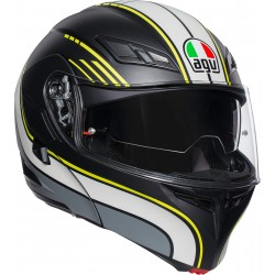 CASCO HELMET MODULARE PLK COMPACT ST MULTI BOSTON MATT BLACK GREY YELLOW AGV