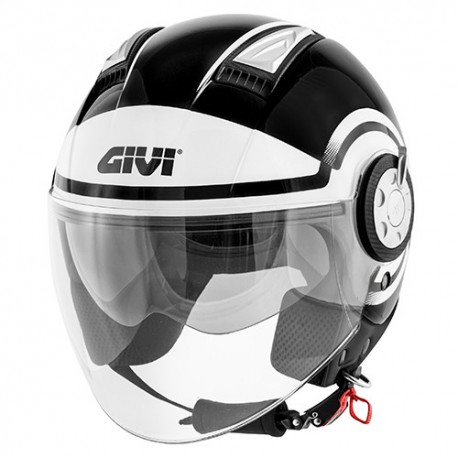 CASCO JET 11.1 AIR JET-R ROUND BLACK WHITE GIVI
