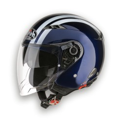 CASCO HELMET JET CITY ONE FLASH DARK BLUE GLOSS AIROH