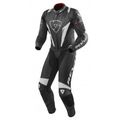 TUTA MOTO PELLE INTERA VENOM BLACK WHITE RED REV'IT
