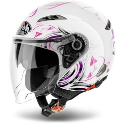 CASCO HELMET JET CITY ONE HEART BIANCO LUCIDO ROSA AIROH
